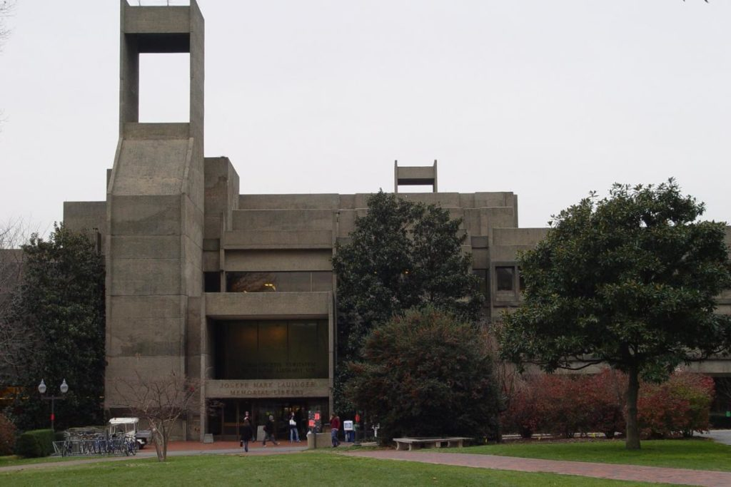 Exterior view of student and Lauinger Library, constructed in grey concrete in the brutalist style of architecture