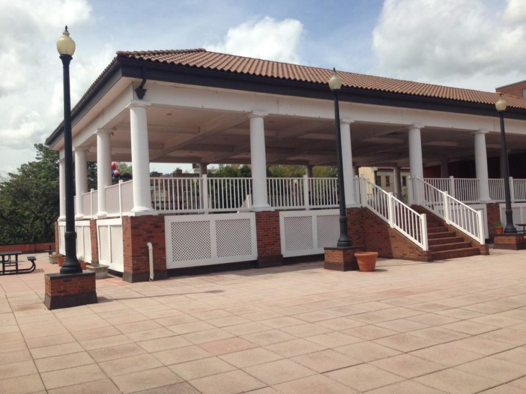 View of the Car Barn Patio and Pavilion on a sunny day