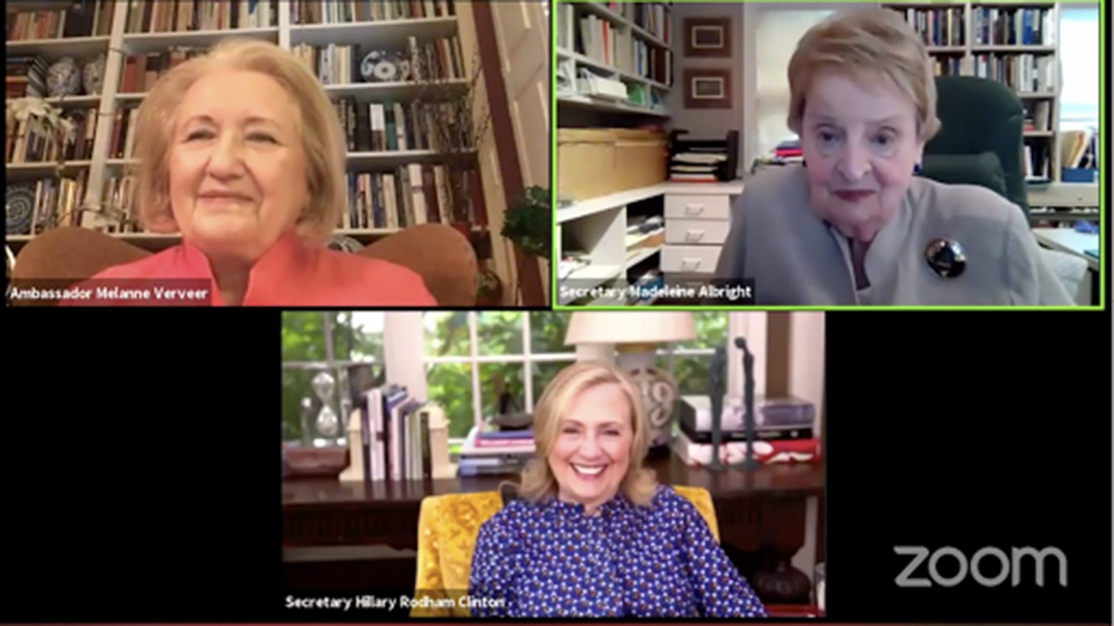 A zoom screenshot of Melanne Verveer, Hillary Clinton and Madeline Albright.