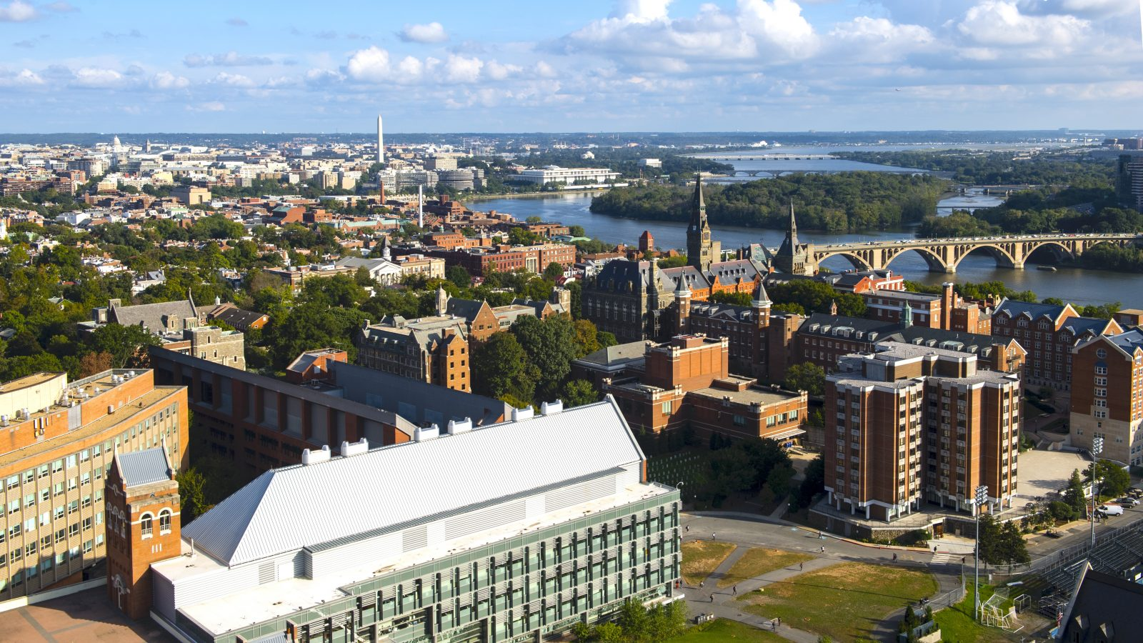 An aerial image of Georgetown's campus.